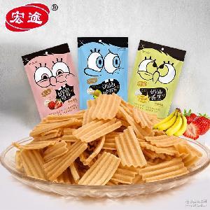 膨化食品厂家 新品宏途水果系列88g薯片薯条 儿童休闲零食特产