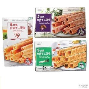 琦诺李师傅台湾手工蛋卷原味香芋味香葱味160g蛋卷饼干