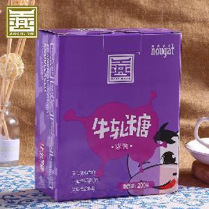 办公室零食手工软糖果现货招代理oem 善舟 紫薯牛轧糖200g*30盒