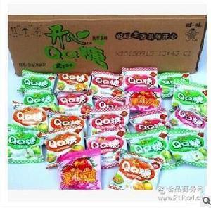 旺仔水果味橡皮糖果汁喜糖果零食散装6斤/件 旺旺开心QQ糖 批发