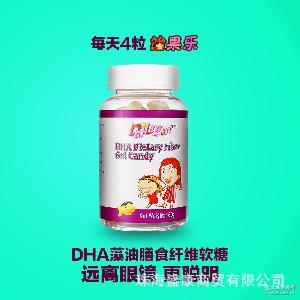 美国进口饴果乐藻油DHA膳食纤维儿童凝胶软糖果 无明胶软糖批发