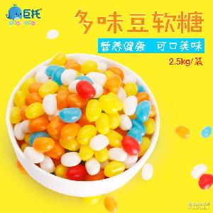 QQ糖果水果糖休闲零食批发2.5kg/袋食品公司 多味豆软糖散装软糖