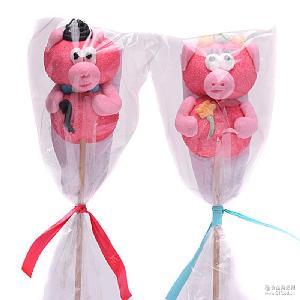 GERALDO吉豆豆棉花糖棒棒糖 进口食品小猪造型 儿童食品糖果