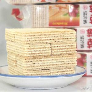 椰子味早餐饼干批发 120g吉人双色威化饼干夹心饼干香橙 草莓