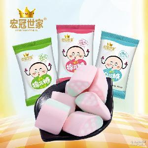 厂家散装批发 多款造型彩色水果味儿童棉花糖零食糖果自动包装