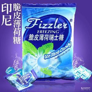 Fizzlei脆皮清爽薄荷糖批发105g童年怀旧零食袋装 印尼进口软糖果