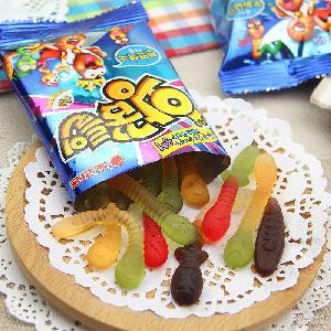 好丽友毛毛虫水果味橡皮糖进口软糖 韩国零食果汁软糖47g/袋