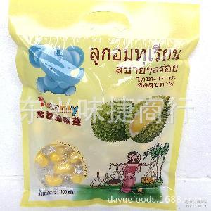 泰国金枕头榴莲糖软糖Ymmy400g原装进口袋装糖果30包/箱