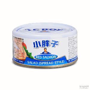 泰国进口鱼罐头 水产食品 小胖子 沙拉酱红三文鱼罐头180g罐