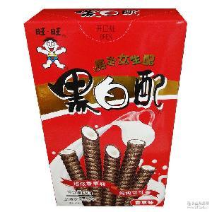 旺旺黑白配60g蛋卷饼干香草味香橙味椰奶味酥脆儿童休闲零食批发