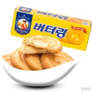 进口休闲零食糕点心 韩国 海太小黄油曲奇饼干86g 香甜奶油味