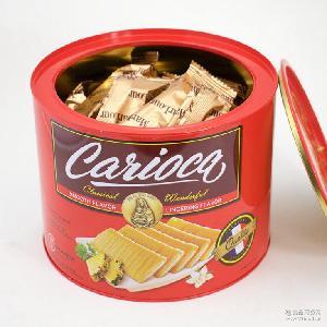 休闲零食批发 英国进口菠萝卷夹心卷蛋卷饼干458g/罐