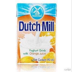 进口牛奶 90ml1*48盒 批发泰国达美进口酸奶饮品香橙味酸奶