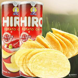 马来西亚进口膨化食品 多种口味 一皇hiro香脆薯片香辣味160g
