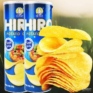 马来西亚进口休闲膨化零食 一皇hiro香脆薯片比萨口味160g