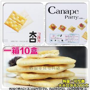 韩国进口休闲零食品 CROWN可拉奥太口苏打无糖饼干280g*10盒/箱