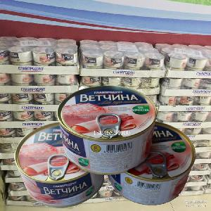 批发进口俄罗斯午餐肉罐头无水无添加纯肉开罐即食餐桌户外*品