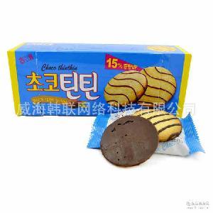 海太婷婷巧克力饼干条纹薄脆饼干酥脆88g*24盒/箱 韩国进口零食品