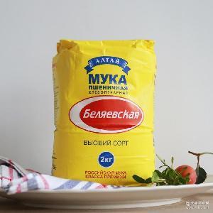 雪兔面粉高筋通用面粉 披萨粉烘培原料面包粉24斤/箱 俄罗斯进口