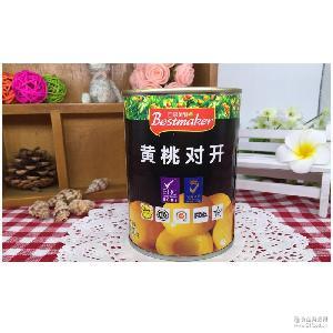 黄桃对开黄桃水果罐头百事美特黄桃 糖水黄桃肉出口品质400克