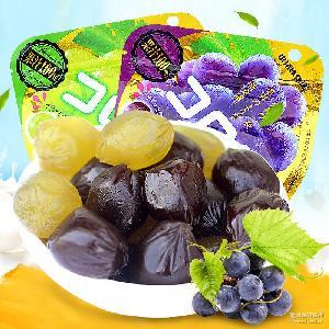 UHA悠哈*水果软糖青葡萄果汁QQ糖52g*6包/盒热销零食批发