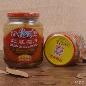 厦门特产古龙红烧猪肉罐头390g玻璃瓶