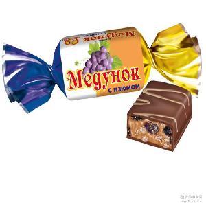 俄罗斯进口零食糖果斯拉夫-9778花瓣葡萄干巧克力糖1000克*5袋/箱