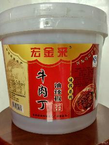 商 宏金来桶装川菜特色牛肉酱丁油辣椒辣酱系列14斤下饭菜调味酱