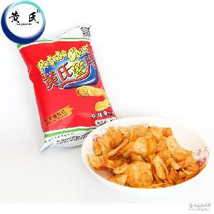 休闲零食批发35g黄氏兄弟富硒土豆麻辣味马铃薯片膨化食品小包装