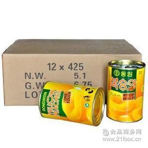 新货 整箱6.1g 出口韩国 糖水黄桃罐头 黄桃水果罐头
