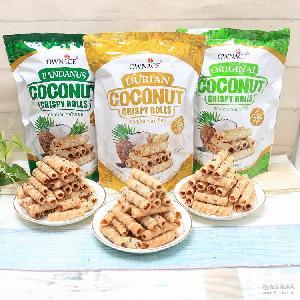 泰国进口零食特产奥娜斯多味椰子卷蛋卷饼干150g 办公室小吃批发