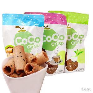 可口可丽丝椰奶脆卷饼干100g休闲零食品批发 CoCo crisp 泰国进口