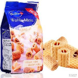 德国进口百乐顺迷你华夫卷饼干75g进口食品休闲零食