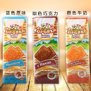 俄罗斯进口食品巧克力牛奶香脆小牛饼干休闲零食儿童早餐茶点375g