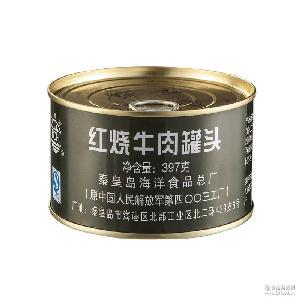 即食 户外肉罐头食品 【单品特价】北戴河红烧牛肉罐头397g