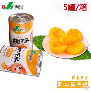 黄桃罐头水果罐头桃罐头 糖水黄桃罐头425g*5罐批发产地货源直销