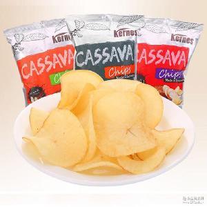大量批发可详谈。膨化木薯片 印尼进口零食 克恩兹150g木薯片
