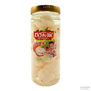 厂家直销 批发代理水果罐头食品 欢乐家荔枝罐头460g*12瓶