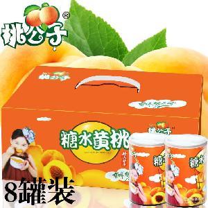 招代理桃公子鑫达罐头厂糖水黄桃罐头425g*8罐出口水果砀山特产