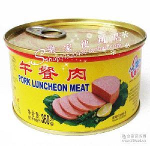 厦门特产古龙罐头食品户外旅游家居*360克午餐肉罐头