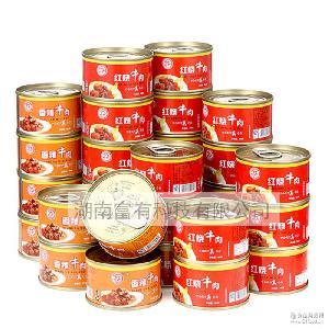 牛肉罐头食品批发德丰红烧香辣牛肉105g*30罐户外罐头即食菜包邮
