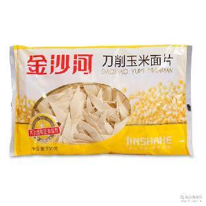 玉米刀削面片250g 金沙河 素食宽面条 批发 原味健康早餐宽叶面片