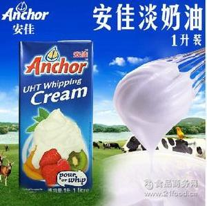 动物性淡奶油 烘焙原料淡奶油 原装进口安佳淡奶油 1L*12 稀奶油