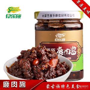 食乐康鹿肉蘑菇酱 内蒙特产 梅花驴肉酱 厂家直销 调味酱 拌饭酱