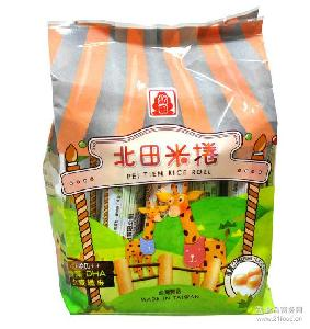 休闲食品蛋黄味海苔味北田米饼干批发 台湾进口食品北田米卷饼干