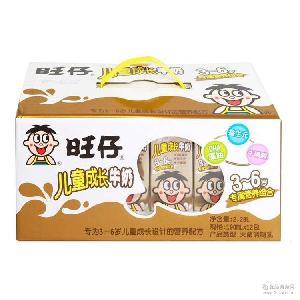 3-6岁儿童配方灭菌调制乳 牛奶批发 旺仔儿童成长牛奶190ml盒装
