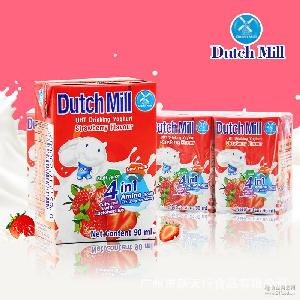 泰国进口 4盒/组 营养常温早餐酸奶 达美酸奶饮品(草莓味)90ml