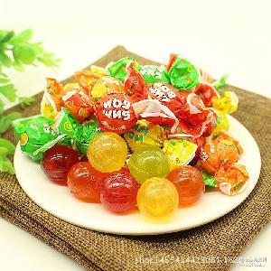 4种果味夹心 零食批发 喜糖 果酱夹心水果硬糖 乒乓球糖 俄罗斯
