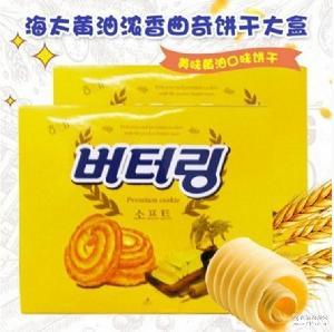 韩国进口海太黄油曲奇饼干香浓奶味酥脆好吃不腻早餐食品302g*12