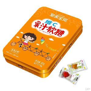 厂家直销 宝贝甜橙味维C果汁软糖儿童大人零食糖果QQ糖盒